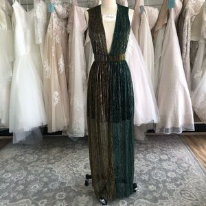 Metallic Turquoise and Gold Plunging Neckline Gown